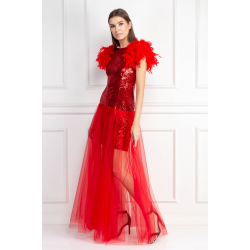 Red Feather Dress