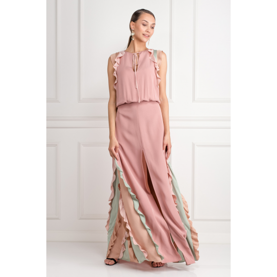 Ruffle-Trimmed Maxi Dress