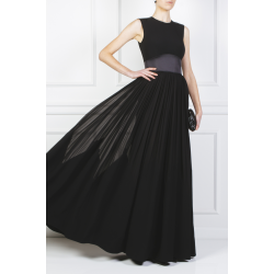 Satin-paneled Crepe Gown