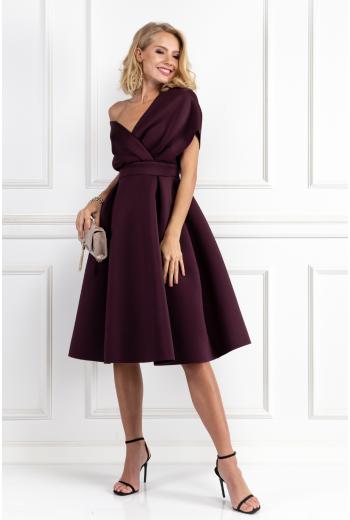 Fallen Shoulder Aubergine Dress