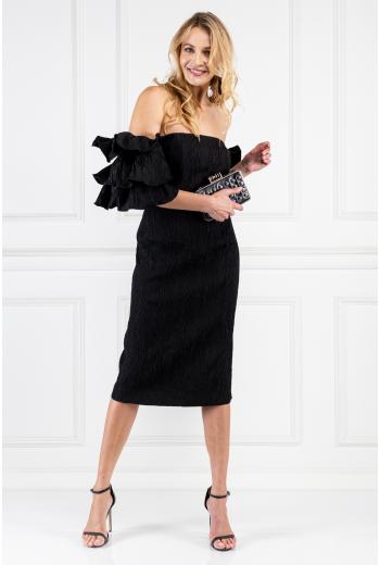 Tiered-sleeve Cloqué Dress
