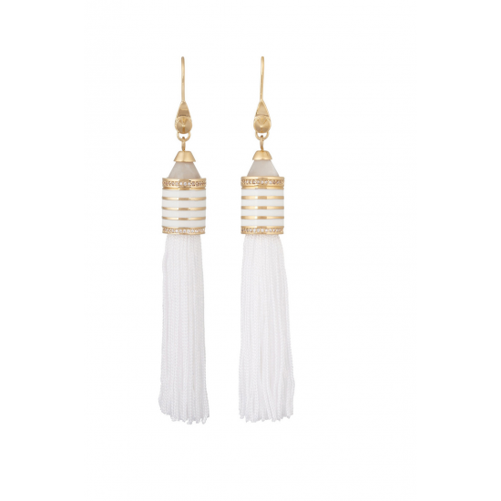 Agate Crystal Tassel Earrings