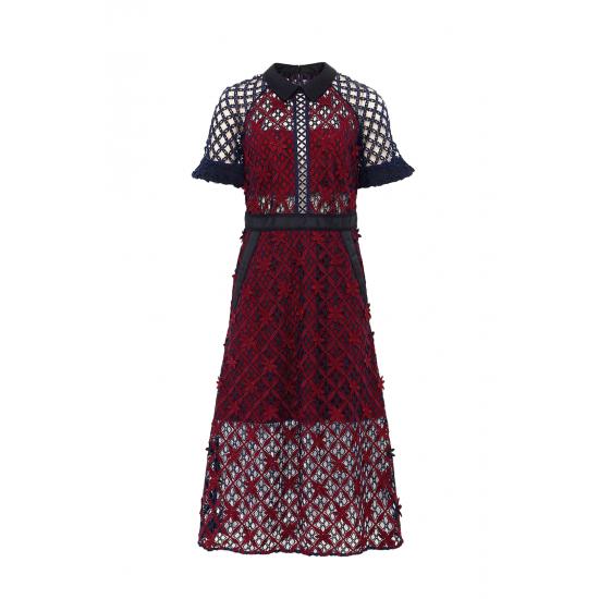 Floral Grid Midi Dress
