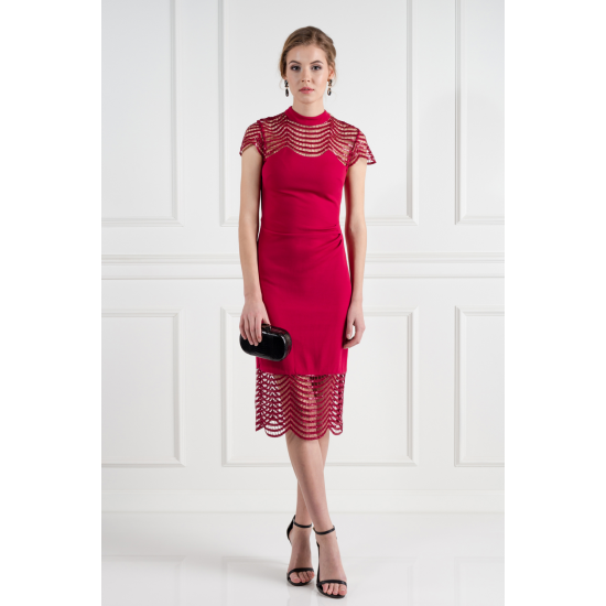 Red Lace Shift Dress