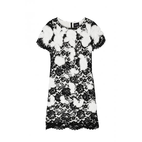 Appliqued Lace Mini Dress