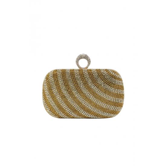 Gold Stripe Classic Clutch