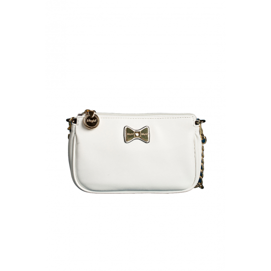 White Leather Purse with Bow